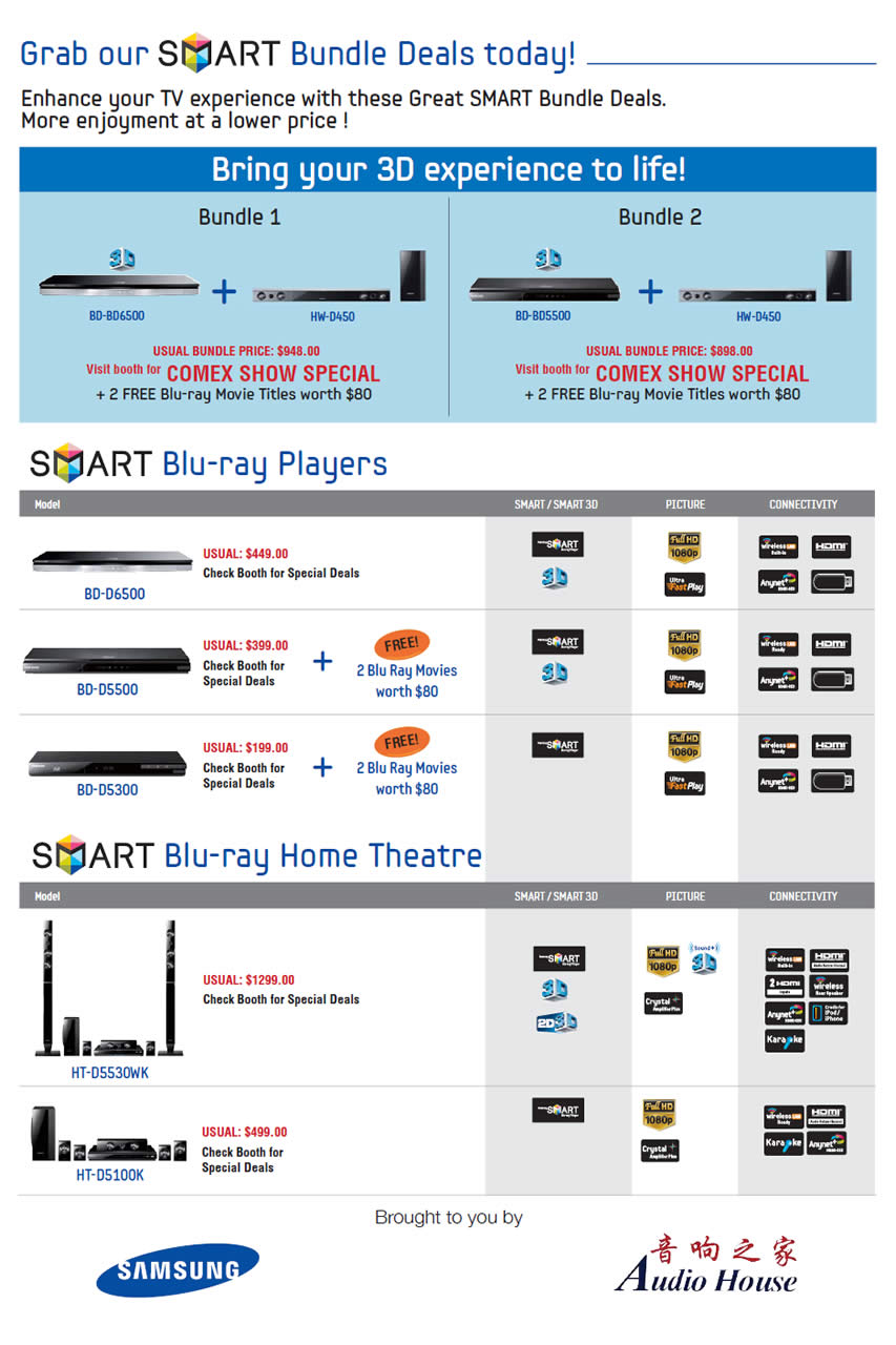 COMEX 2011 price list image brochure of Samsung Blu Ray Players Home Theatre