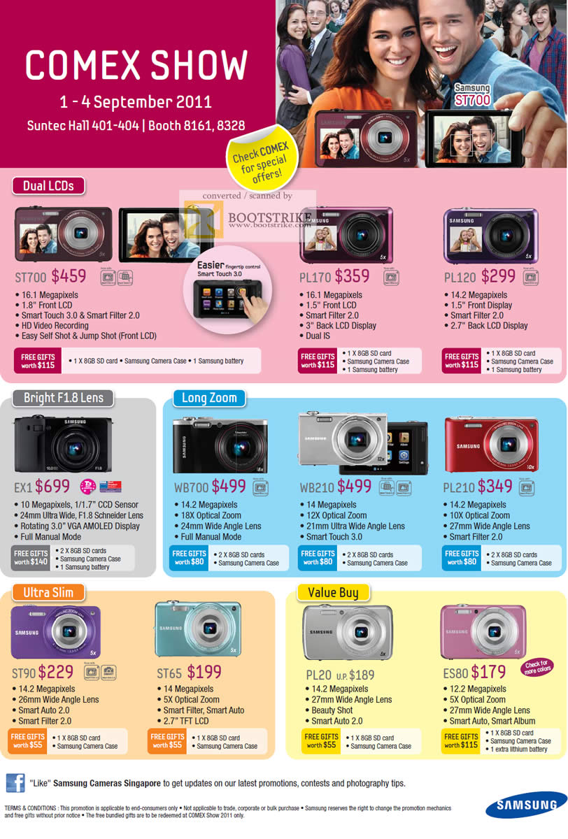 COMEX 2011 price list image brochure of Samsung Digital Cameras Dual LCDs T700 PL170 PL120 EX1 WB700 WB210 PL210 ST90 ST65 PL20 ES80