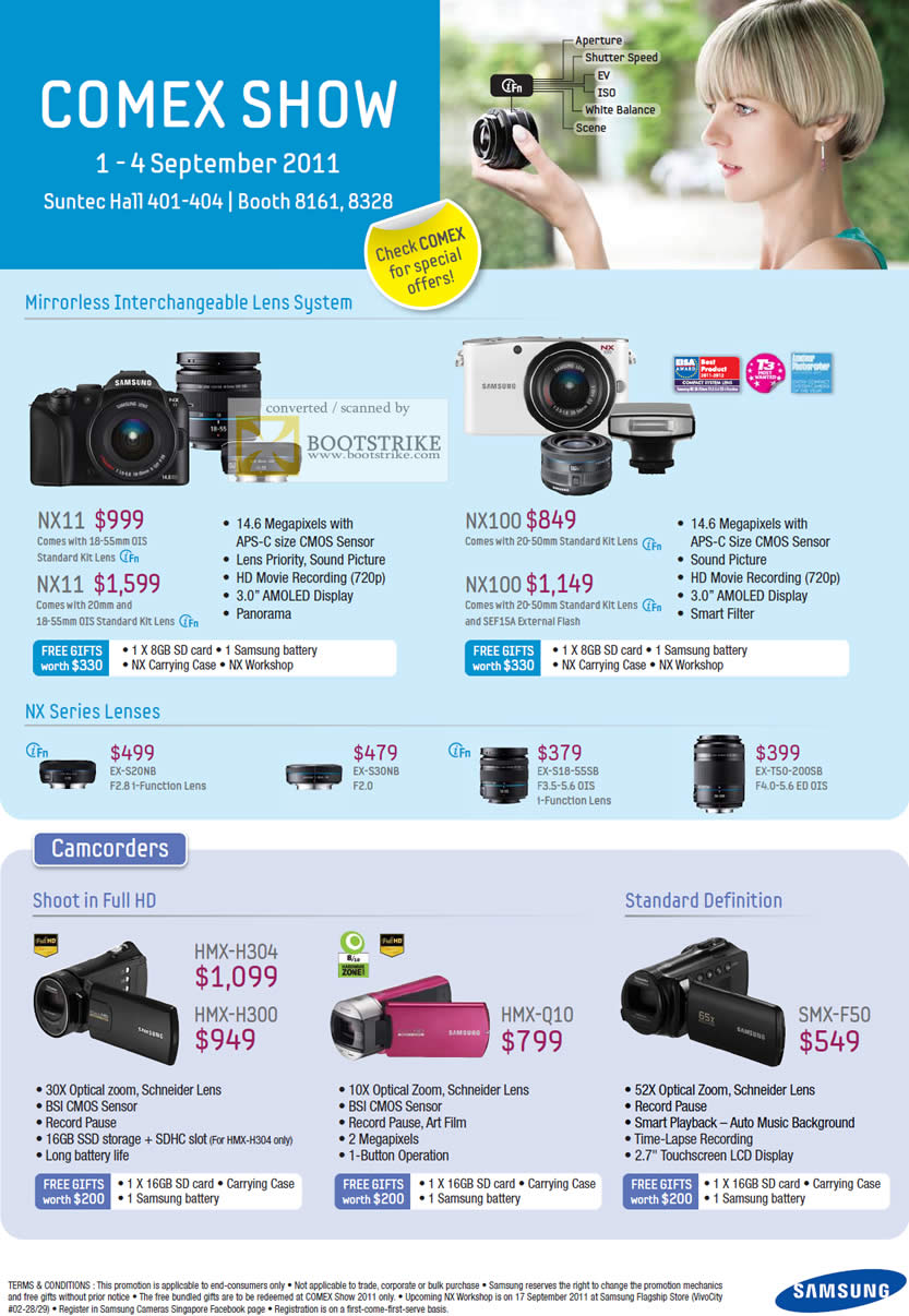 COMEX 2011 price list image brochure of Samsung Digital Cameras Mirrorless Interchangeable Lens SystemNX11 NX100 Lenses EX-S20NB EX-S30NB Video Camcorders HMX-H304 HMX-H300 HMX-Q10 SMX-F50