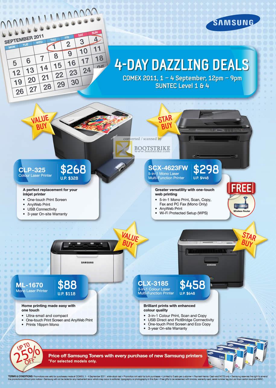 COMEX 2011 price list image brochure of Samsung Laser Printers Colour CLP-325 SCX-4623FW ML-1670 CLX-3185