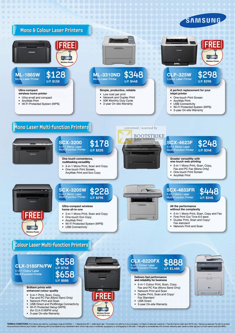 COMEX 2011 price list image brochure of Samsung Laser Printers ML-1865W ML-3310ND CLP-325W SCX-3200 SCX-4623F SCX-3205W SCX-4833FR Colour CLX-3185FN FW CLX-6220FX