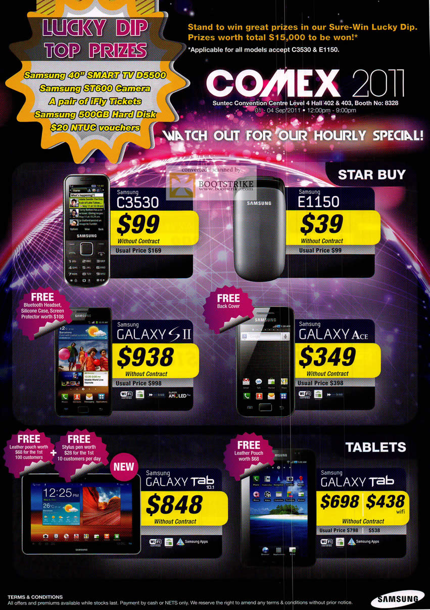 COMEX 2011 price list image brochure of Samsung Mobile Phones C3530 E1150 Galaxy S II Ace Tab 10.1 Tablet Smartphone