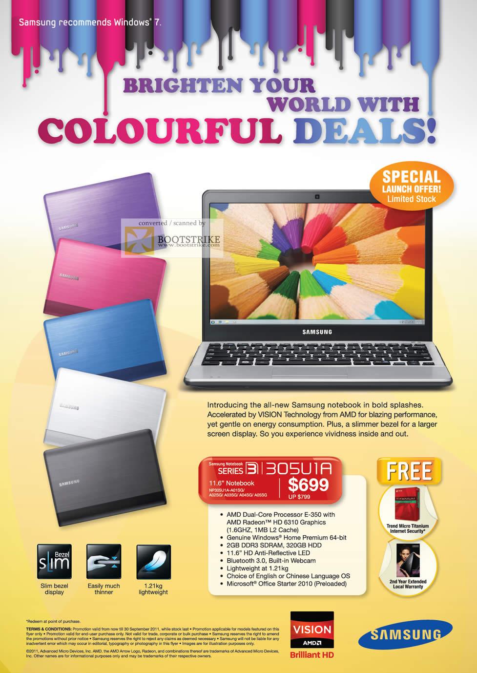 COMEX 2011 price list image brochure of Samsung Notebook Series 3 AMD 305V1A NP305U1A-A01SG A02Sg A03SG A04SG A05SG