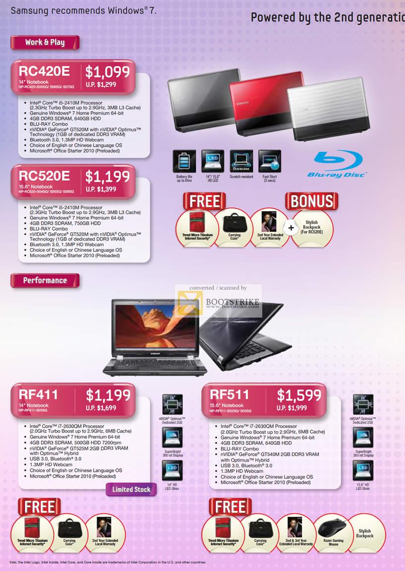 COMEX 2011 price list image brochure of Samsung Notebooks RC420E RC520E RF411 RF511 NP S05SG S06SG S06SG S07SG