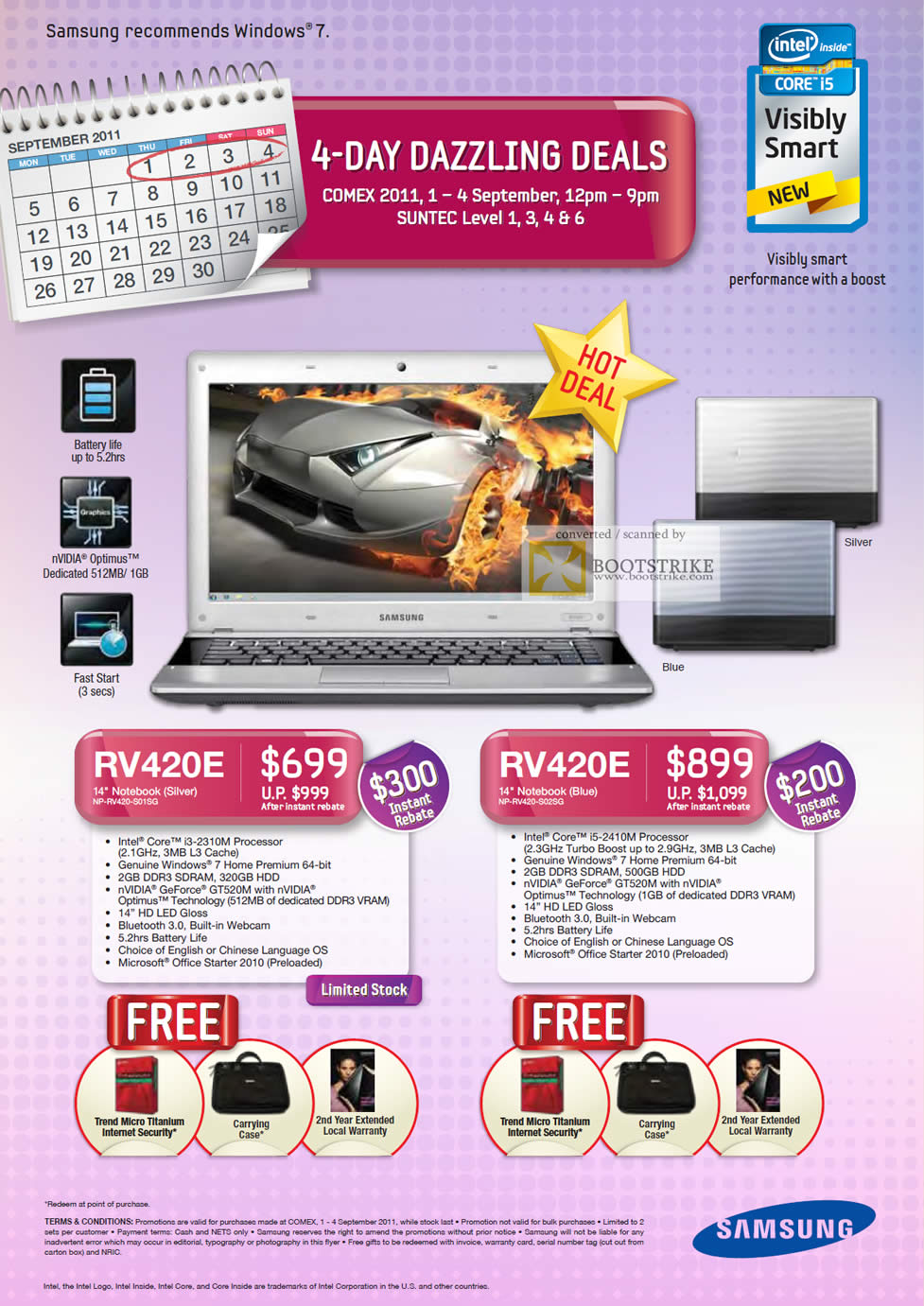 COMEX 2011 price list image brochure of Samsung Notebooks RV420E S01SG S02SG