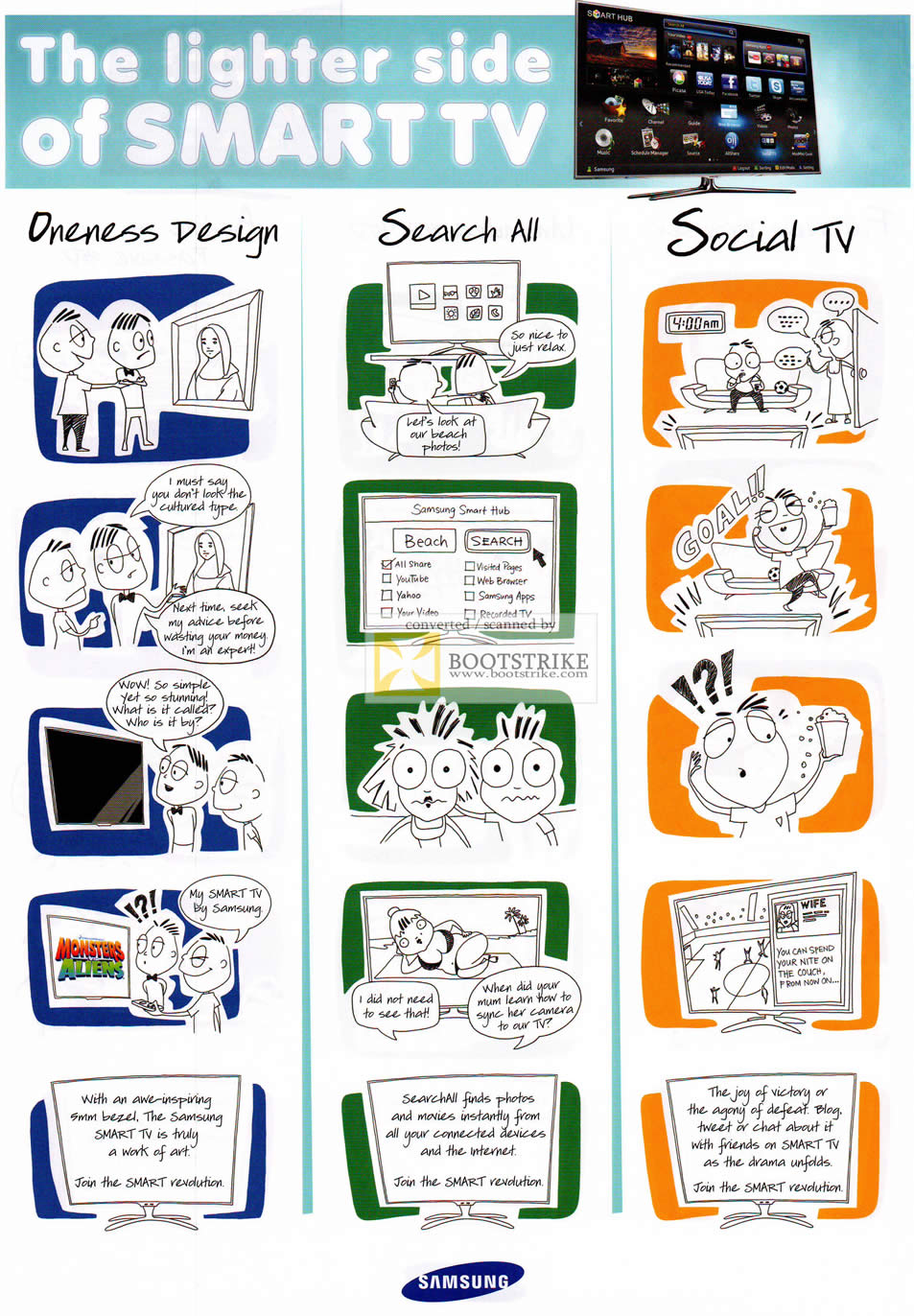 COMEX 2011 price list image brochure of Samsung Smart TV Comic Strip Oneness Design Search All Social TV