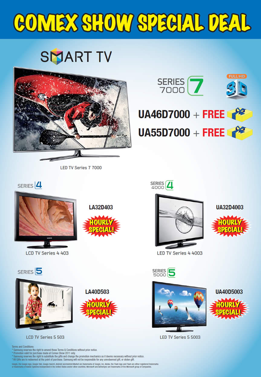 COMEX 2011 price list image brochure of Samsung TV Series 7000 4000 5000 Hourly Special