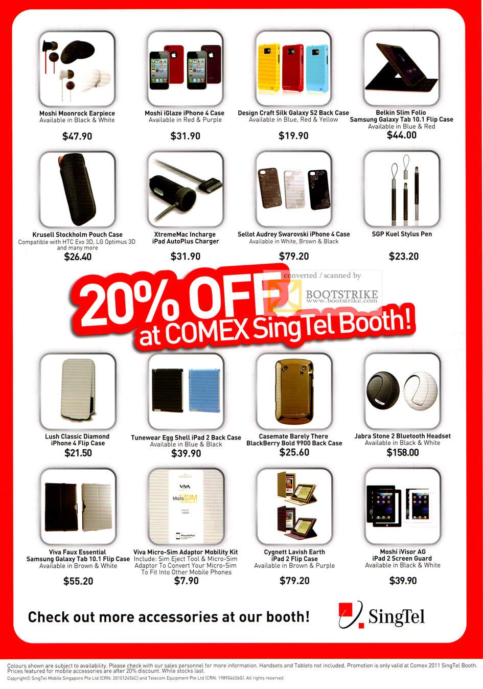 COMEX 2011 Price List Image Brochure Of Singtel Accessories Moshi Moonrock Earpiece IPhone 4 Case Design
