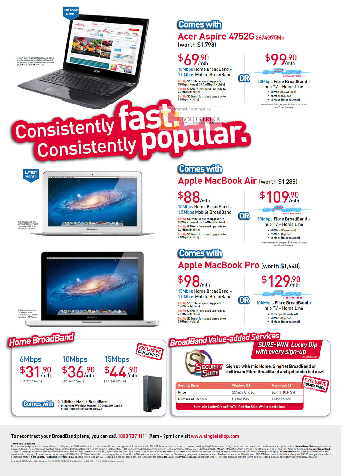 COMEX 2011 price list image brochure of Singtel Broadband Home Mobile Acer Aspire 4752G 2674G75Mn Apple MacBook Air