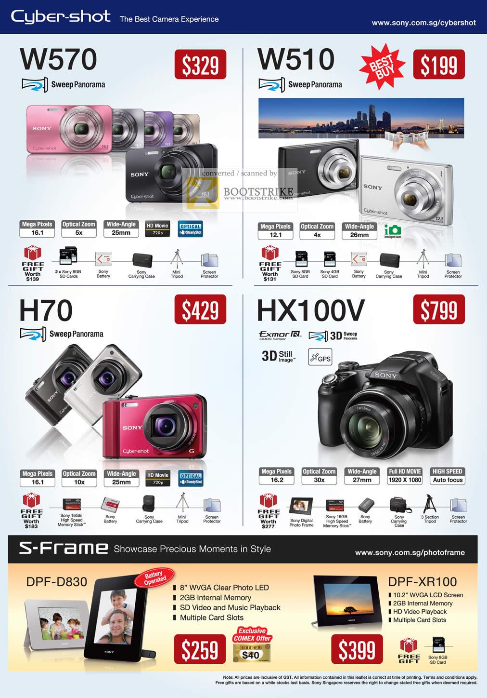 Sony Digital Cameras Cybershot DSC W570 W510 HX100V H70 S-Frame DPF ...