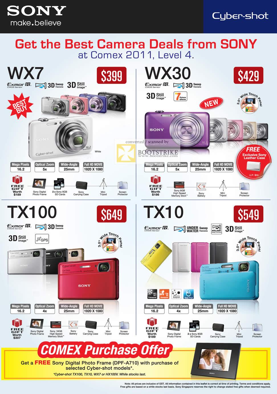 COMEX 2011 price list image brochure of Sony Digital Cameras DSC WX7 WX30 TX100 TX10