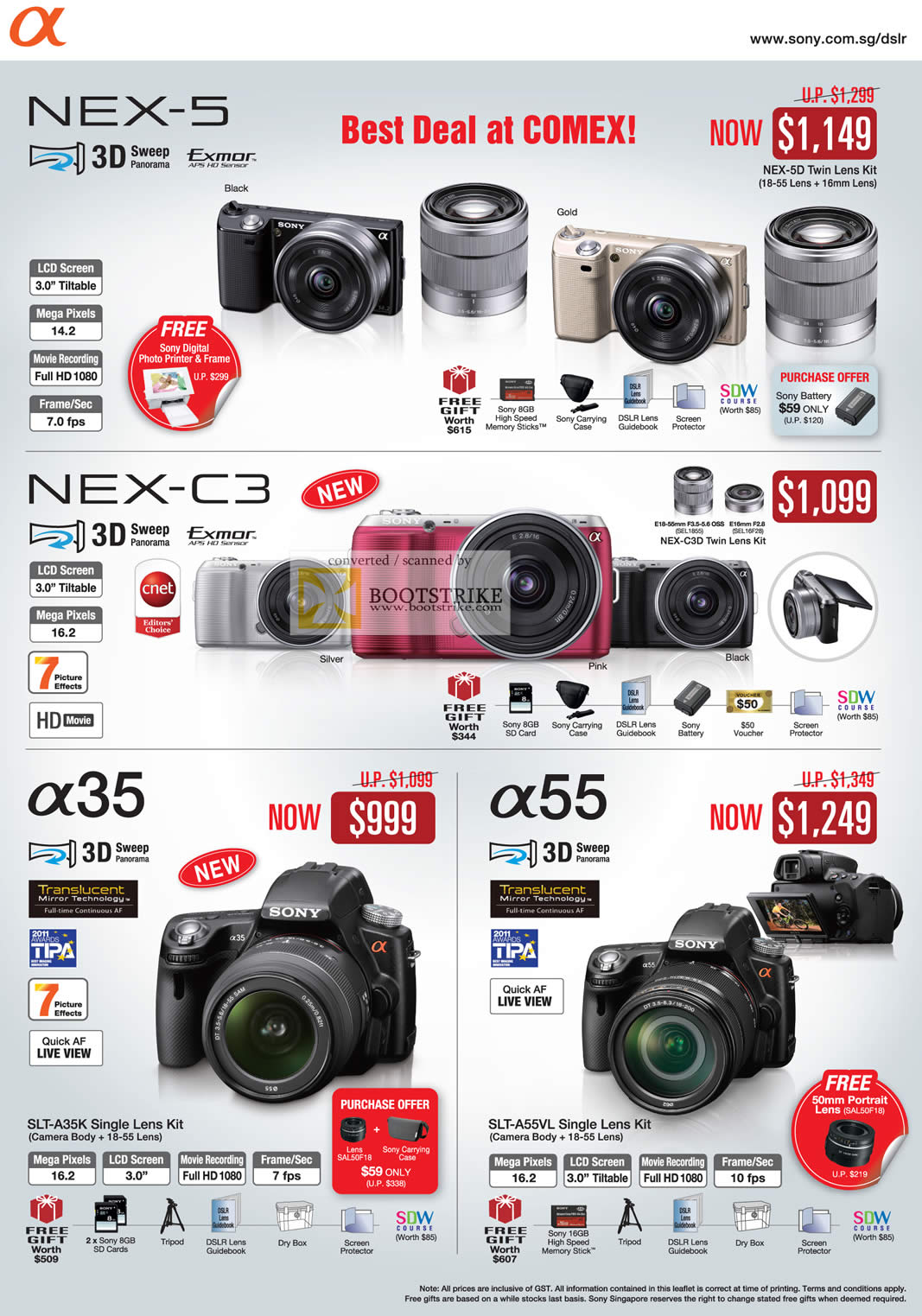 Camera Sony Dslr Camera Price List sony digital cameras dslr alpha nex 5 c3 a35 a55 comex 2011 price list image brochure of nex