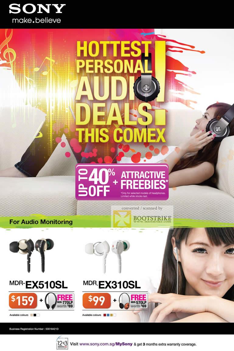 COMEX 2011 price list image brochure of Sony Earphones MR-EX510SL MDR-EX310SL