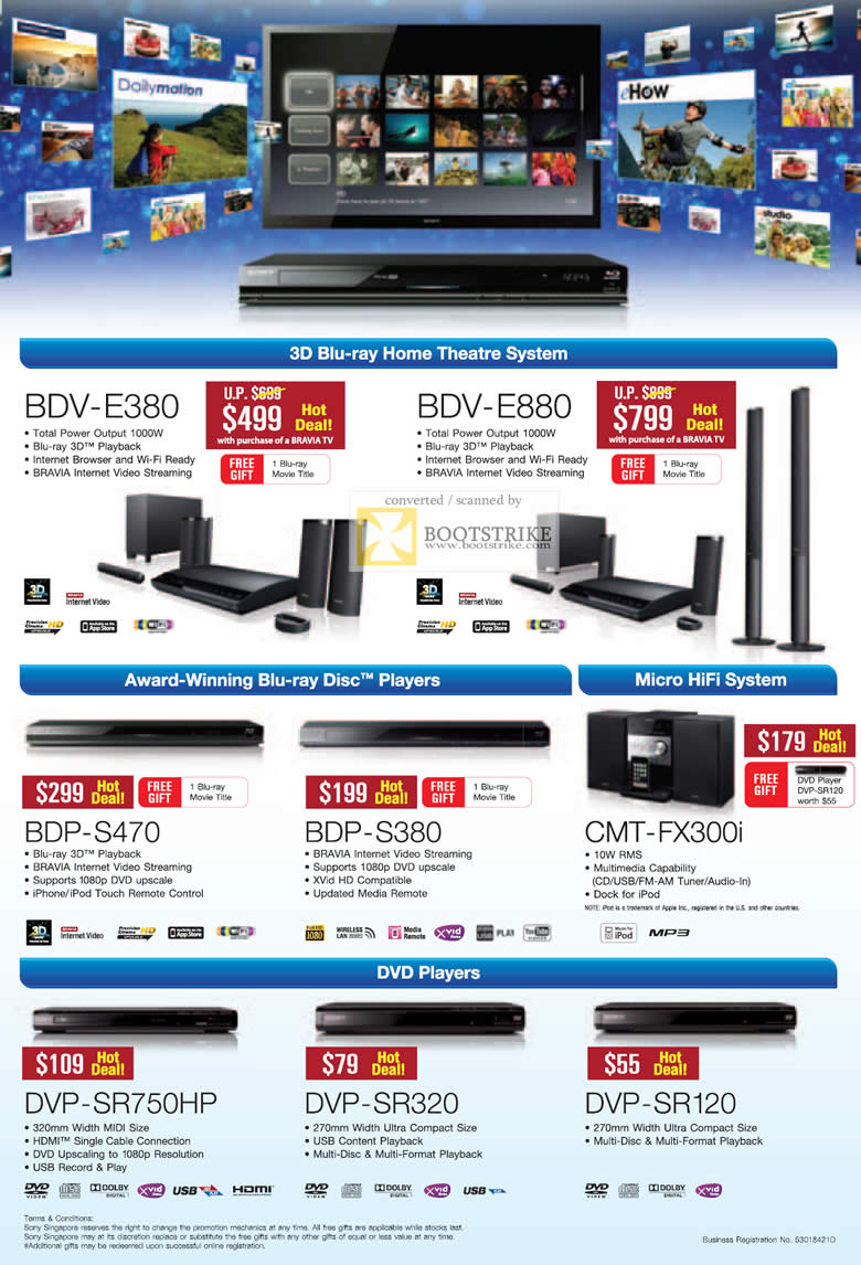 COMEX 2011 price list image brochure of Sony Home Theatre System 3D Blu-Ray BDV E380 E880 BDP S470 S380 CMT-FX300i DVD Players DVP SR750HP SR320 SR120