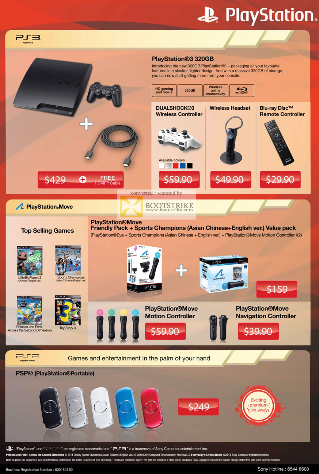COMEX 2011 price list image brochure of Sony Playstation 3 PS3 320GB Dualshock Wireless Controller Headset Blu-Ray Disc Remote Controller Move Motion Sports Champions Value Pack PSP Portable