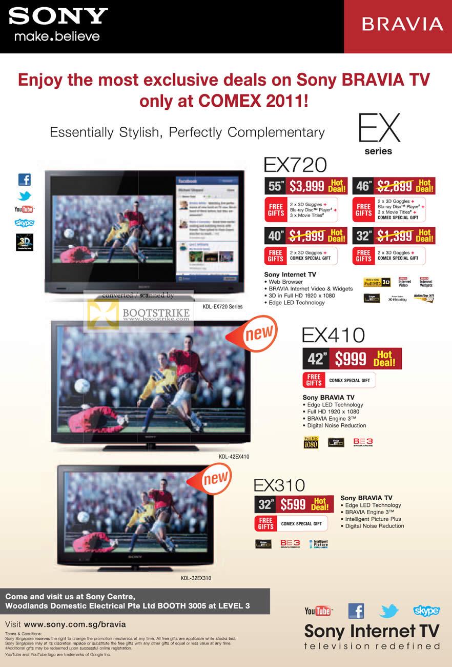 Sony TV Bravia Internet KDL EX720 EX410 EX310 COMEX 2011 Price List