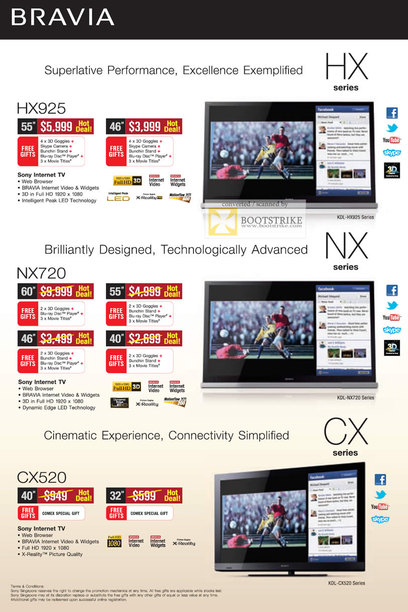 COMEX 2011 price list image brochure of Sony TV Internet Bravia KDL HX925 NX720 CX520
