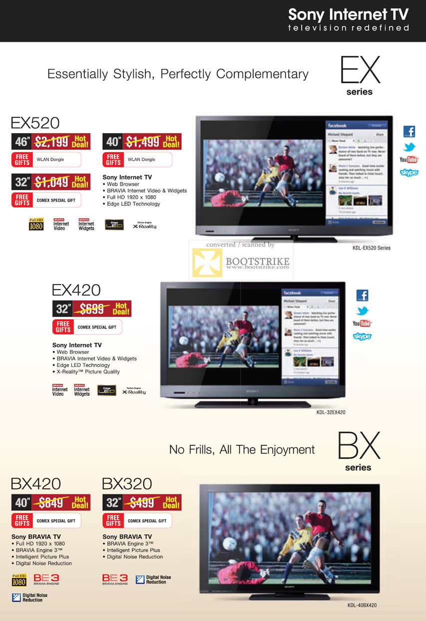 sony tv internet ex520 ex420 bx420 bx320 comex 2011 price list brochure flyer image. Black Bedroom Furniture Sets. Home Design Ideas
