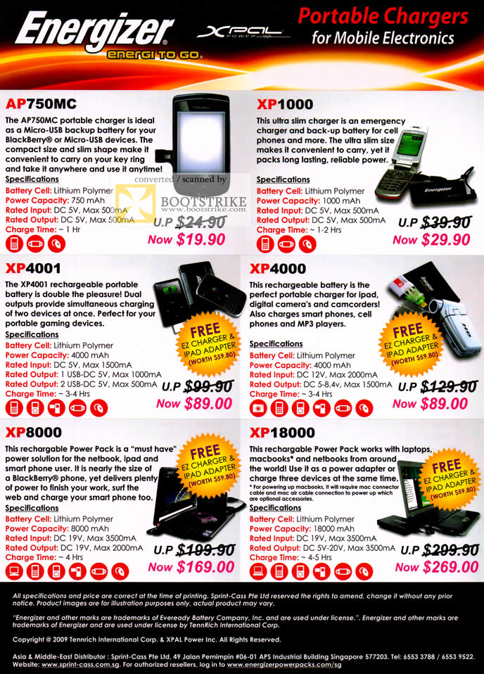 COMEX 2011 price list image brochure of Sprint Cass Energizer Xpal Charger AP750MC XP1000 XP4001 XP4000 XP8000 XP18000