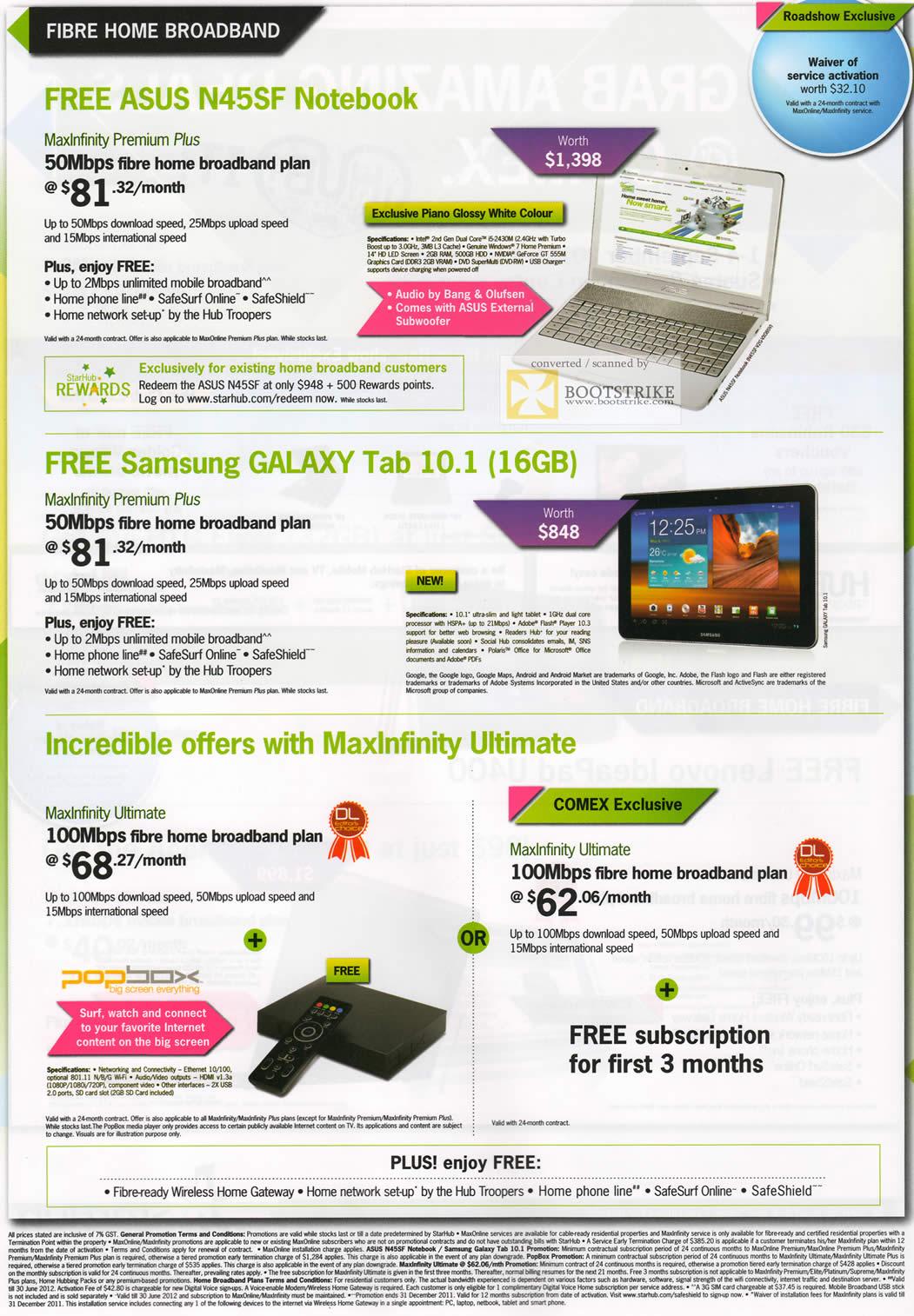 COMEX 2011 price list image brochure of Starhub Fibre Home Broadband MaxInfinity Premium Plus Free ASUS N45SF Notebook Samsung Galaxy Tab 10.1 16GB Popbox Ultimate