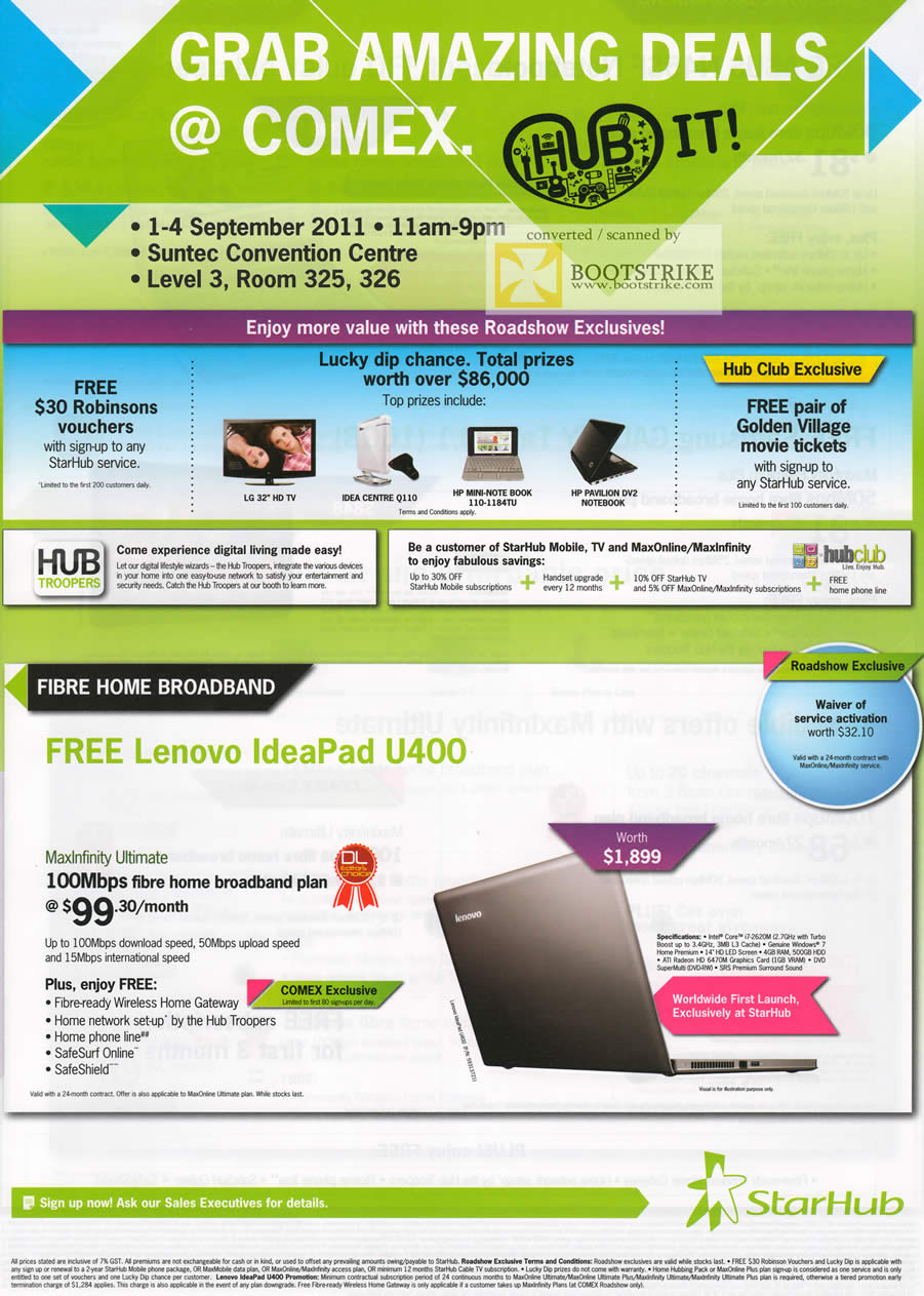 COMEX 2011 price list image brochure of Starhub Fibre Home Broadband Maxinfinity Ultimate Lenovo Ideapad U400 Notebook Robinsons Vouchers Golden Village Tickets