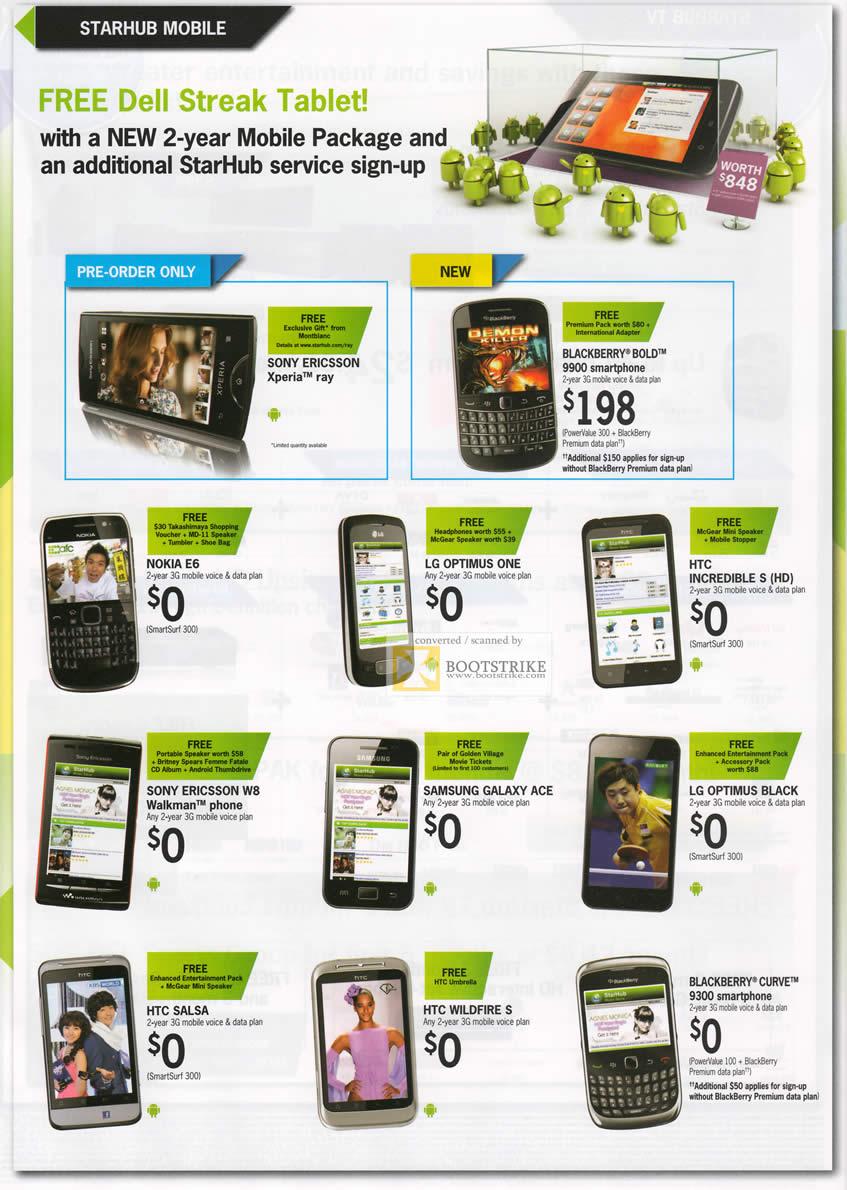 Starhub Mobile Free Dell Streak Tablet Sony Ericsson Xperia