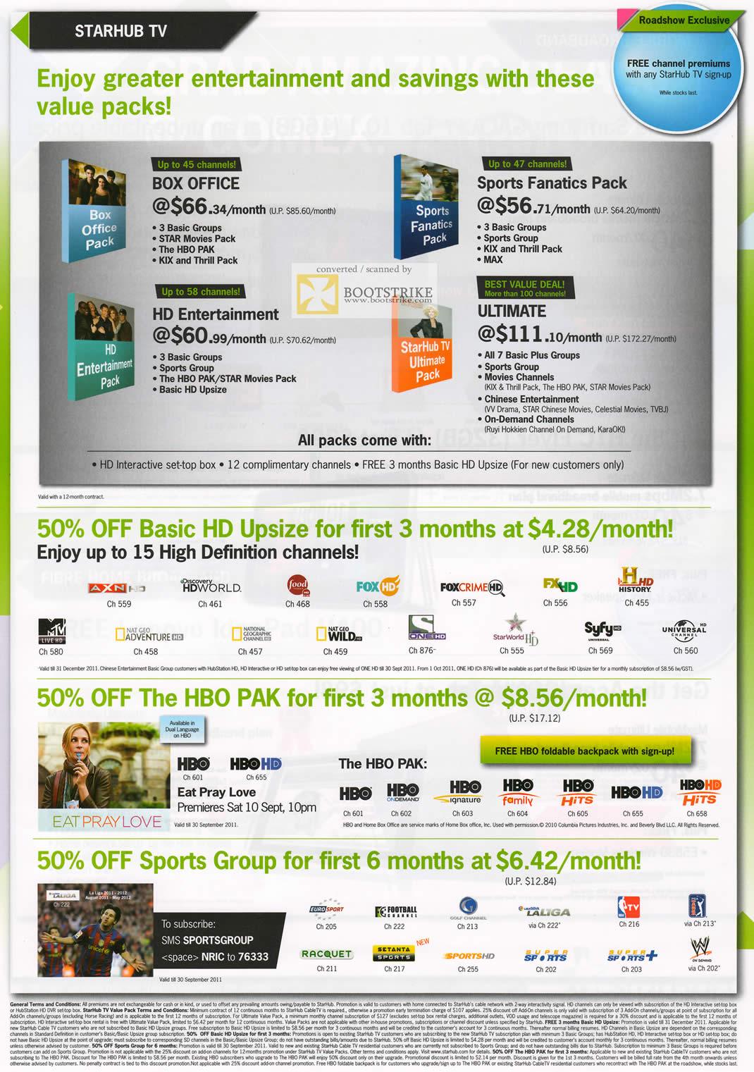 COMEX 2011 price list image brochure of Starhub TV Box Office Sports Fanatics Pack HD Entertainment Ultimate Upsize HBO Pak Sports Group