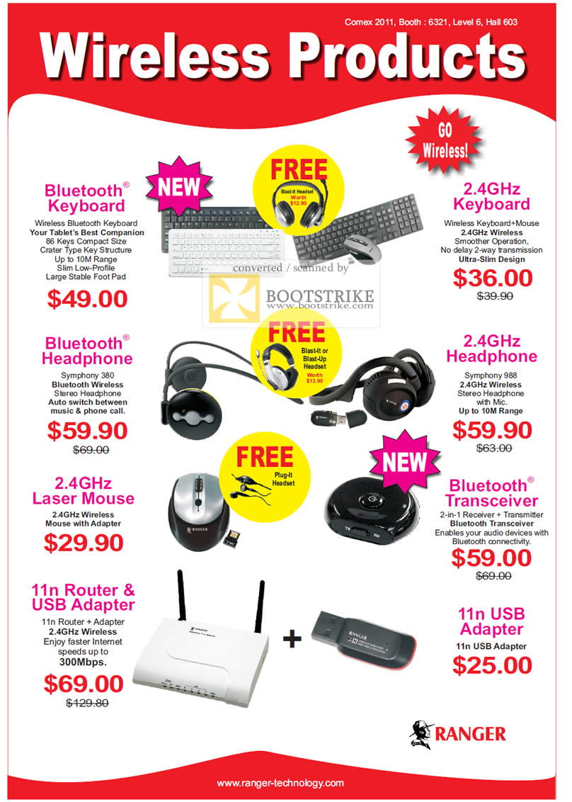 COMEX 2011 price list image brochure of Systems Tech Ranger Keyboard Headphone Mouse USB Adapter Bluetooth Laser Router Transceiver Wireless