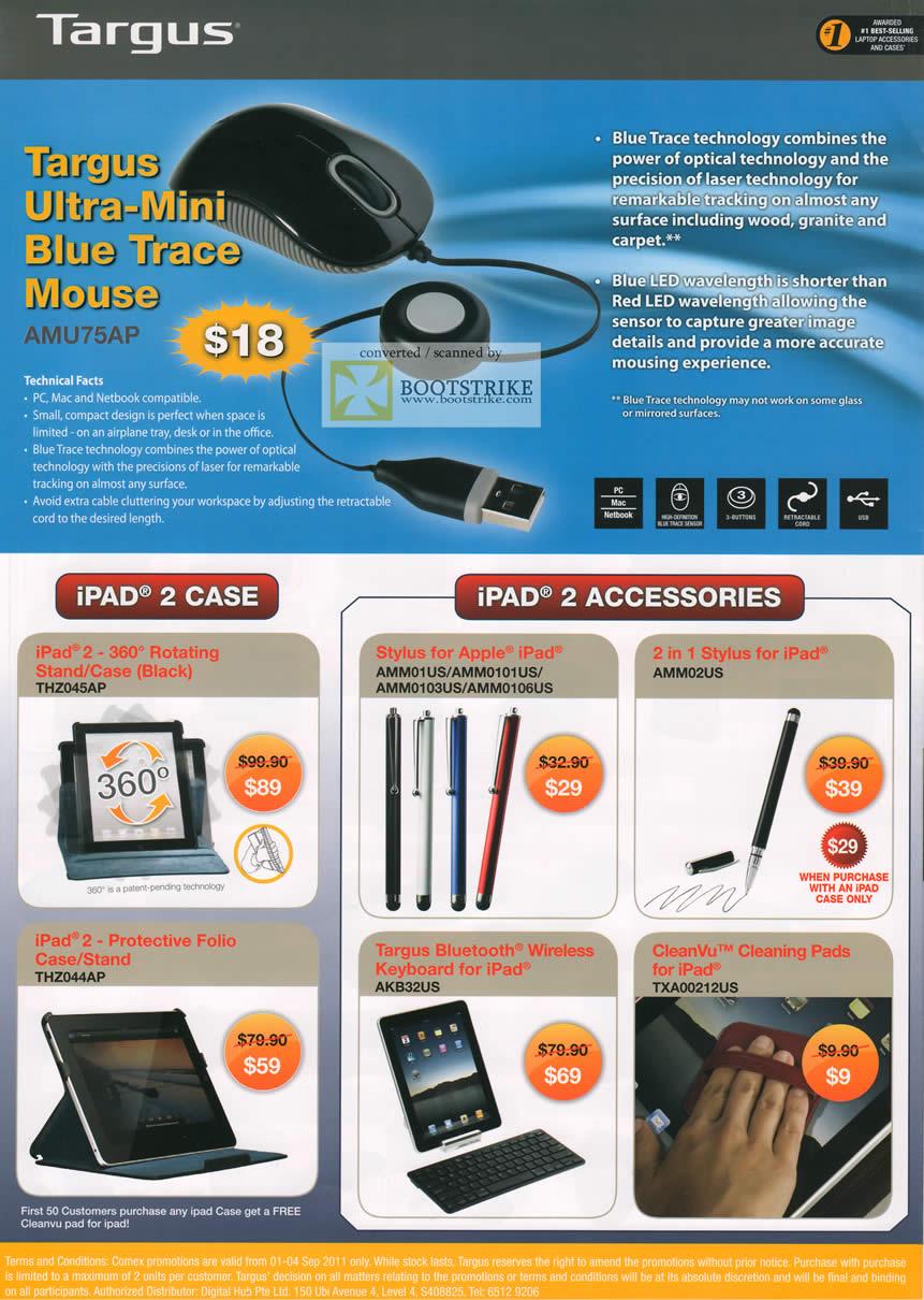 COMEX 2011 price list image brochure of Targus Ultra Mini Blu Trace Mouse LED IPad 2 Case Stylus Keyaord Folio Case CleanVu Cleaning Pads