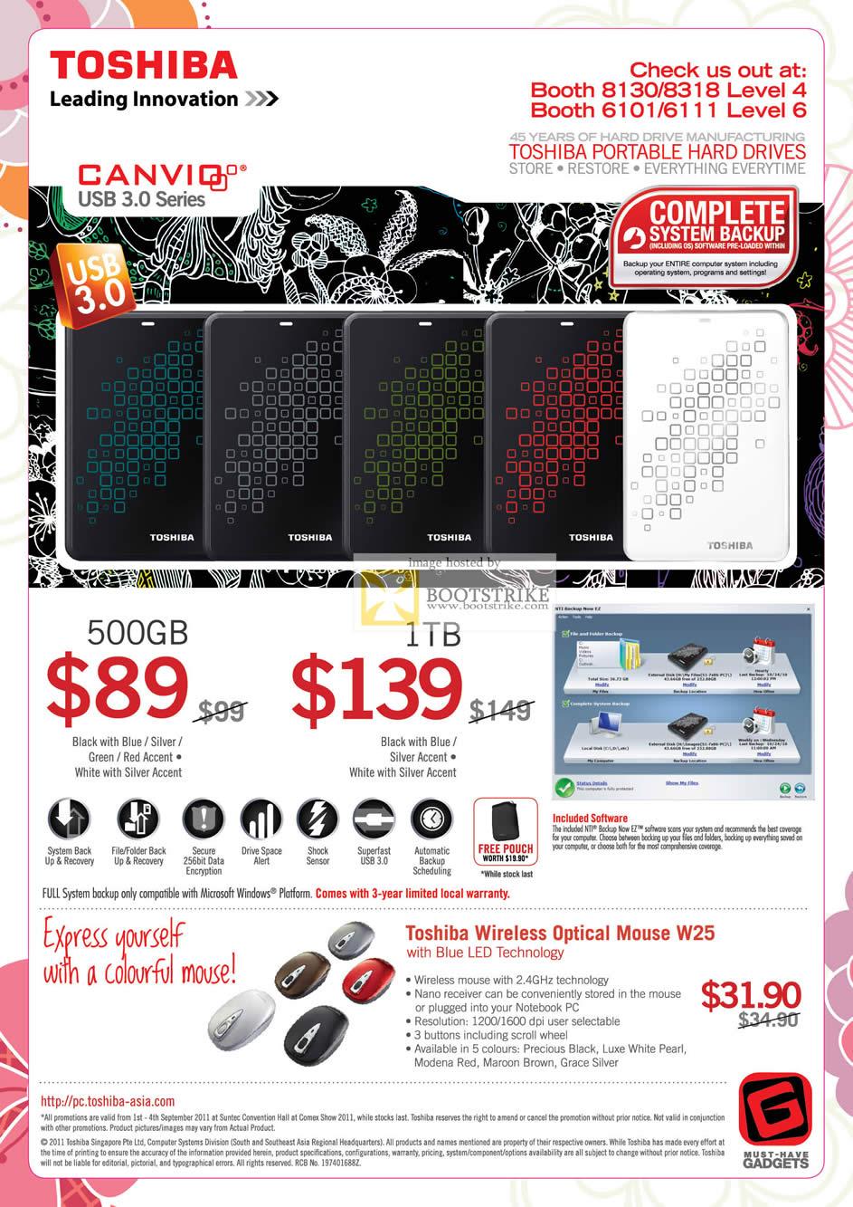 COMEX 2011 price list image brochure of Toshiba External Storage Canvio USB3 500GB 1TB Mouse W25 LED