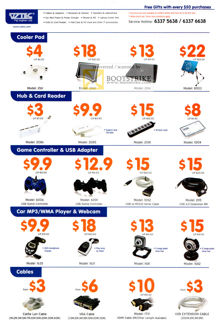 COMEX 2011 price list image brochure of Vztec Accessories Cooler Pads USB Hub Card Reader Game Controller USB Adapter Car MP3 Player Webcam Cables