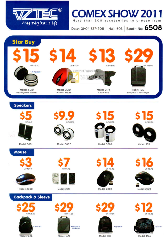 COMEX 2011 price list image brochure of Vztec Accessories Speakers Mouse Rechargeable Speakers Cooler Pad Backpack Sleeve