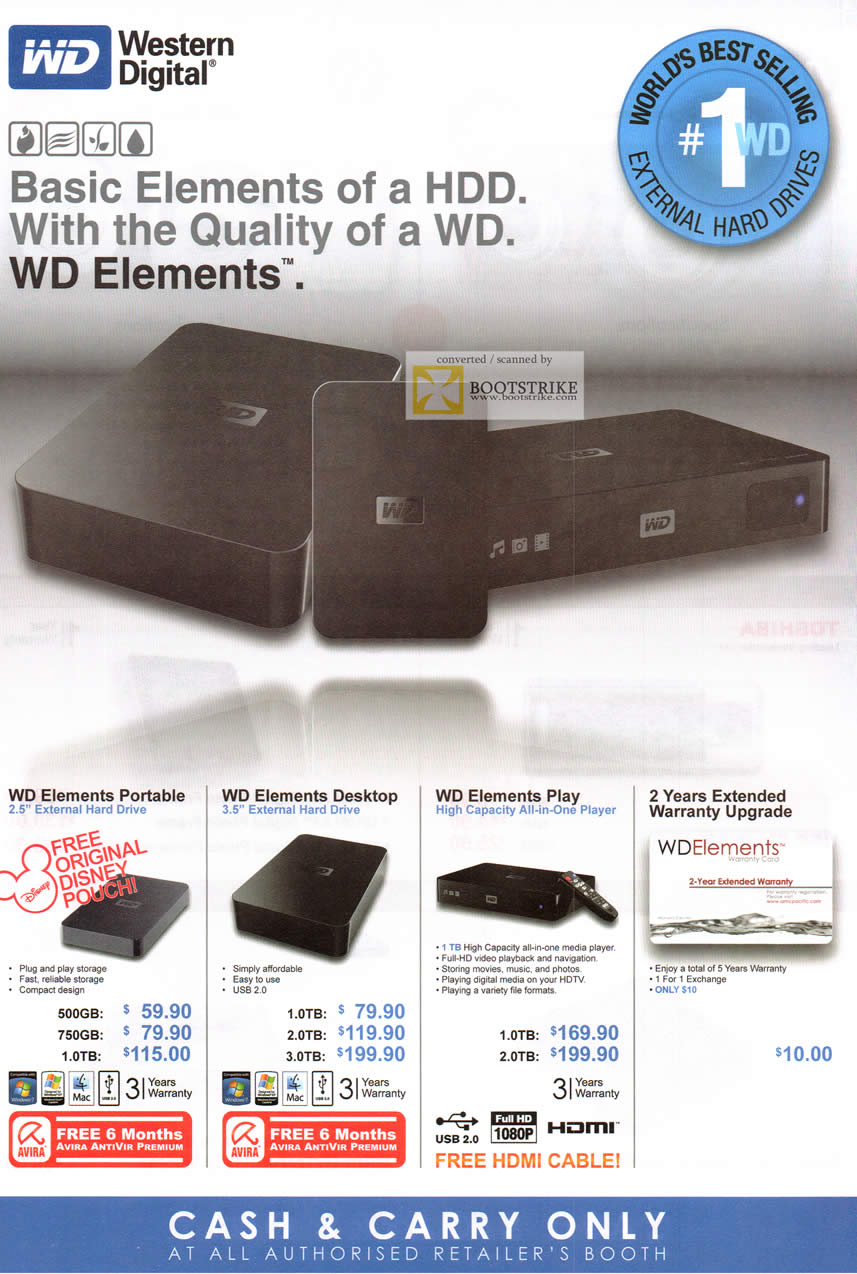 COMEX 2011 price list image brochure of Western Digital Elements Portable External Storage Desktop Play Media Player