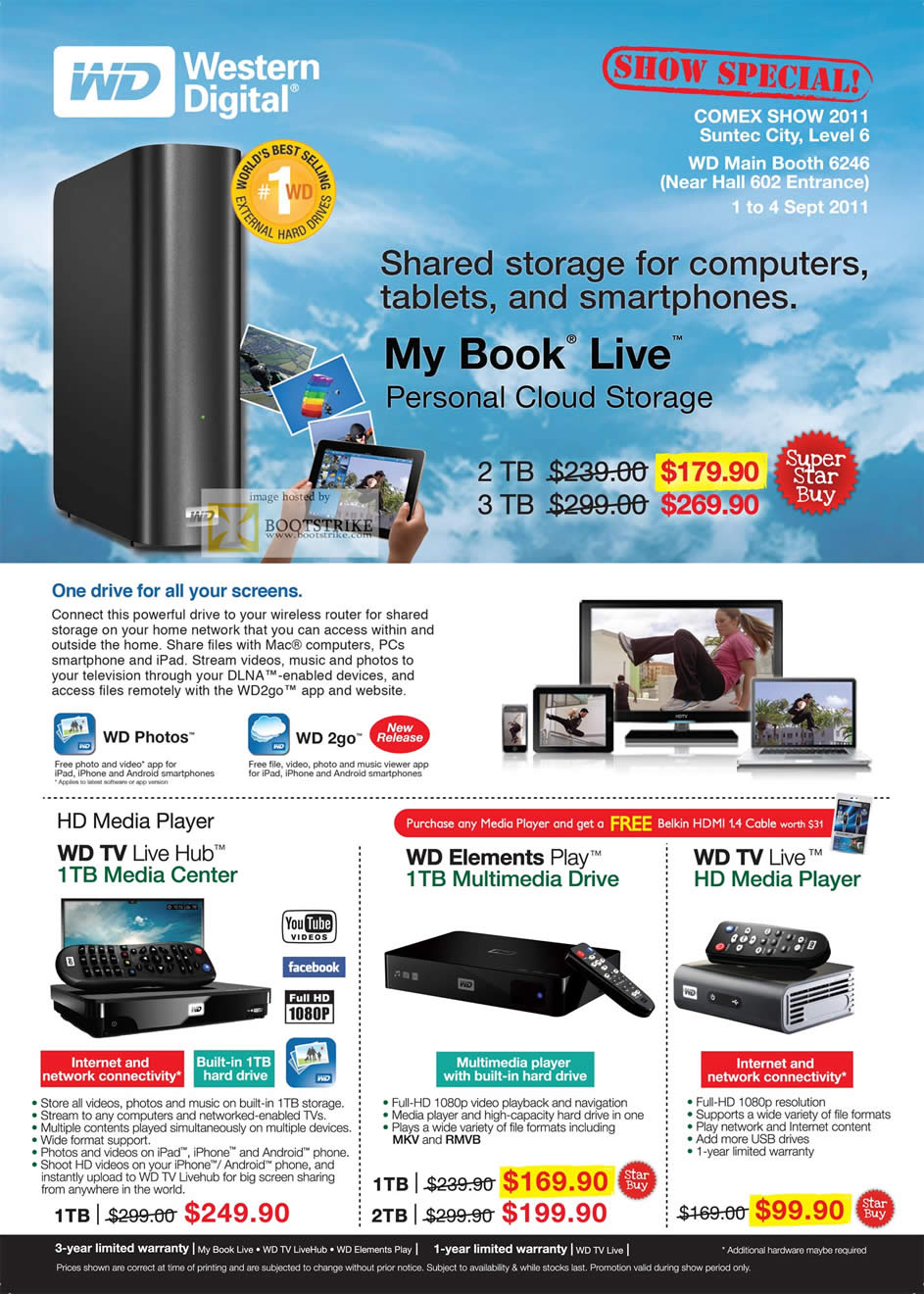 COMEX 2011 price list image brochure of Western Digital External Storage My Book Live Personal Cloud Storage Media Player TV Live Hub Play