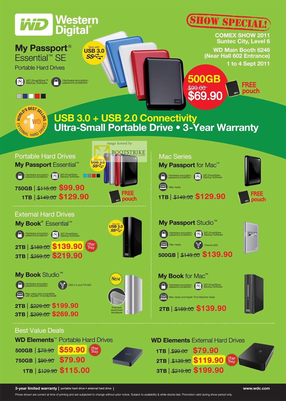 COMEX 2011 price list image brochure of Western Digital External Storage My Passport Essential SE Mac Studio Elements