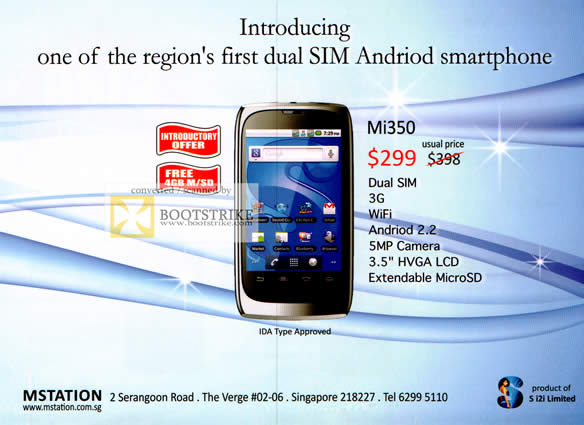 COMEX 2011 price list image brochure of Yun Loong Mobile Phone Mstation Mi350 Features Dual Sim Android