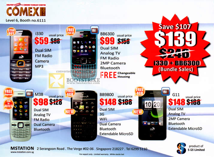 COMEX 2011 price list image brochure of Yun Loong Mobile Phones Mstation I330 BB6300 M38 BB9800 G11 TV 3G Wifi FM Radio Dual SIM
