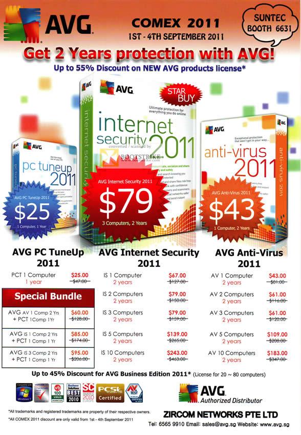 COMEX 2011 price list image brochure of Zircom AVG Anti Virus PC TuneUp Internet Security 2011