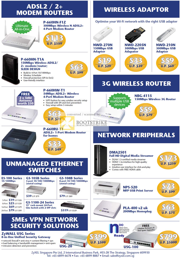 COMEX 2011 price list image brochure of Zyxel Networking ADSL2 Modem Router Wireless Adapter 3G NWD 270N 2205N 210N NBG 4115 Switches ES 100 Zywall USG-20 Print Server Homeplug