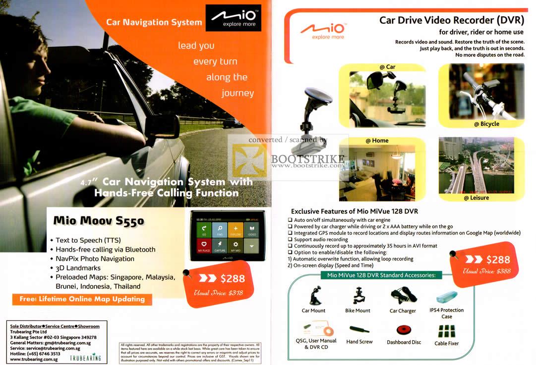 COMEX 2011 price list image brochure of IKnow Mio Moov S550 GPS Navigation Car Drive Video Recorder DVR MiVue 128 DVR