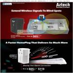 Aztech WL556E HomePlug 300Mbps Wireless N Range Extender AV 500Mbps Pass Through HL115EP