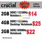 Crucial Desktop Notebook Memory DDR3 DDR2 1333Mhz