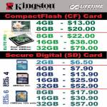 Kingston CompactFlash Memory Card SDCard SDHC