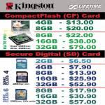 Kingston CompactFlash Memory Card SDCard SDHC