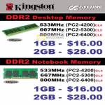 Kingston DDR2 Desktop Memory Notebook 533Mhz 667Mhz 800Mhz