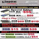 Kingston Memory DDR3 CL9 1600Mhz HyperX Desktop Notebook DDR1