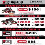Kingston SSDNow V Gen III II 64GB 128GB 256GB 30GB