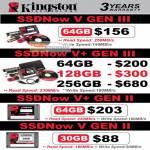 Kingston SSDNow V Gen III II 64GB 128GB 256GB 30GB