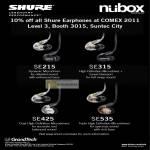 Nubox GrandTech Shure Earphones SE215 SE315 SE425 SE535