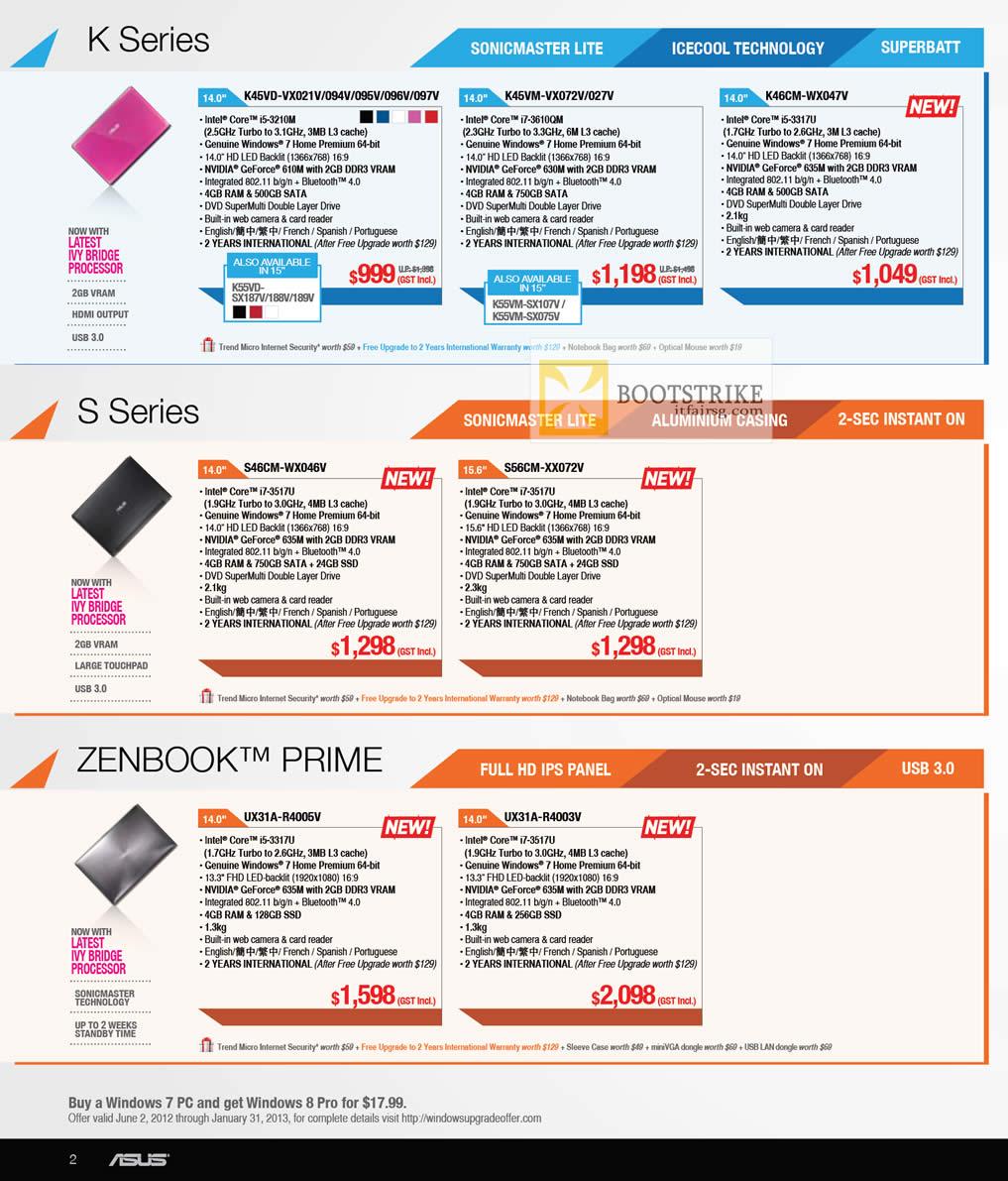 COMEX 2012 price list image brochure of ASUS Notebooks K Series K45VD K45VM K46CM, S Series S46CM S56CM, Zenbook Prime UX31A-R4005V, UX31A-R4003V